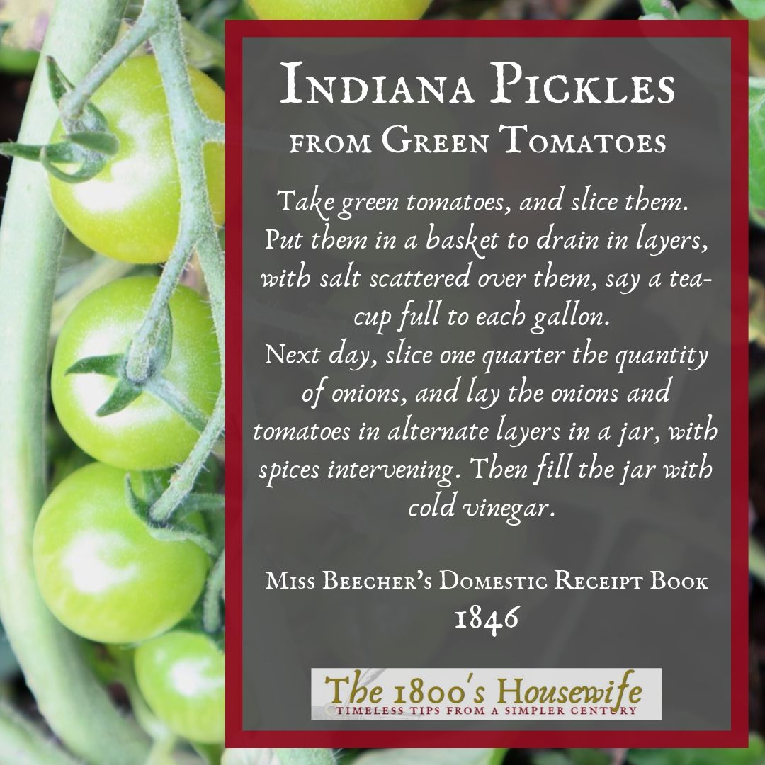 picture of 1800s recipe for green tomato pickles