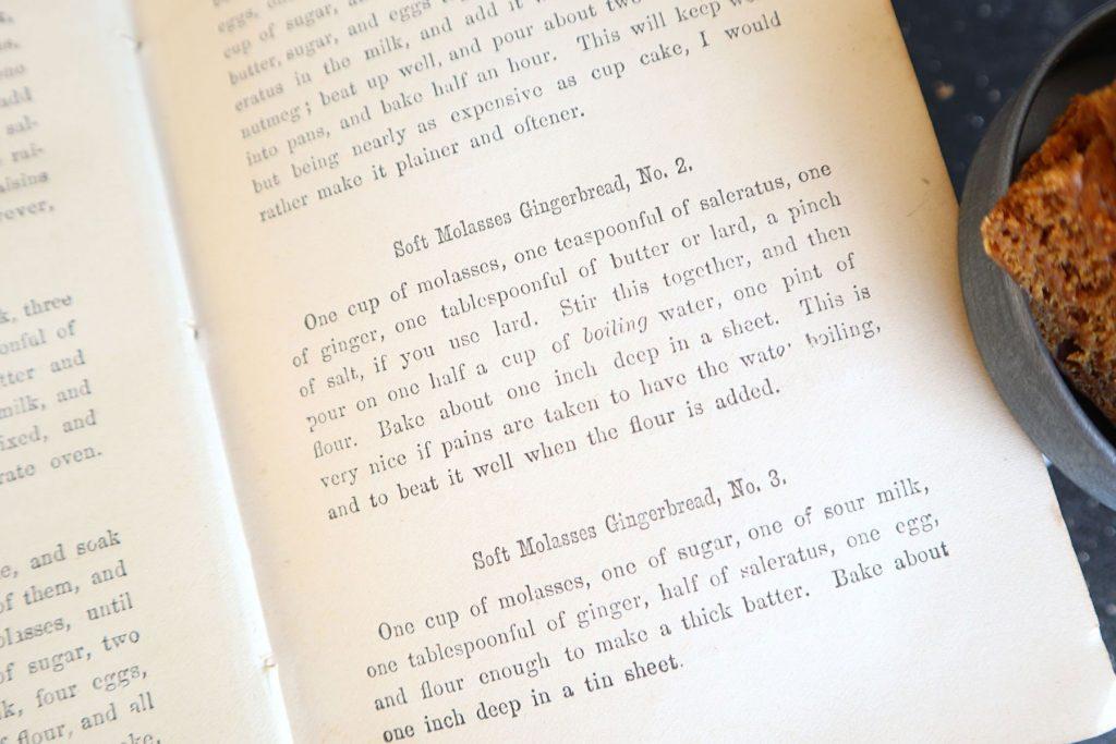 1800s cookbook recipe for soft molasses gingerbread